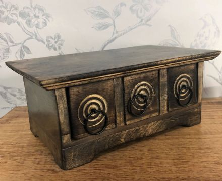 Swirl Design Dark Wood Hand Crafted Small 3 Drawer Jewellery | Trinket Storage